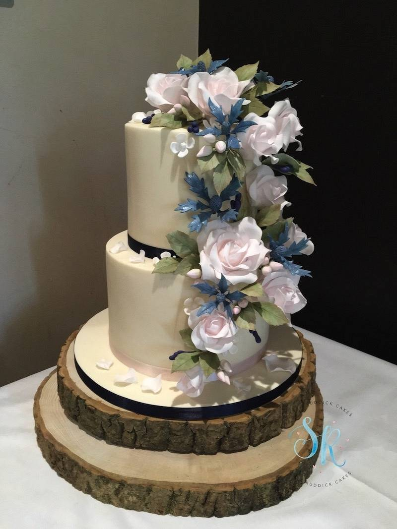 Wedding Cake - Roses and Sea Holly Cascade